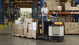 Crown electric pallet jack and electric forklift.