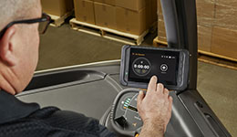 Crown forklift accessory on electric forklift.