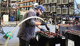 Forklift battery maintenance.