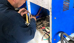Forklift battery charger for forklift battery.