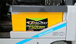 Forklift batteries for forklift by Deka batteries.