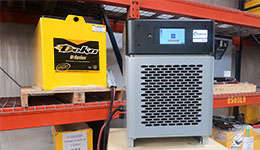Forklift battery chargers and forklift battery.