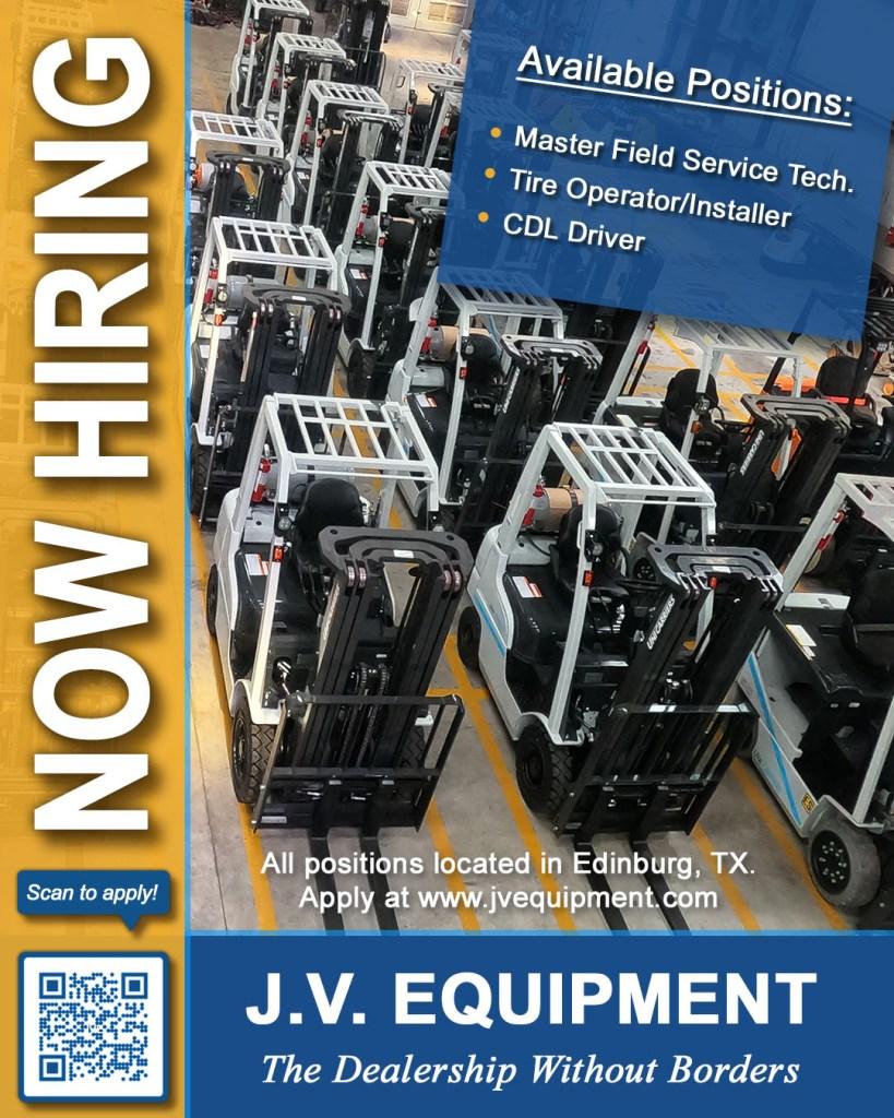 jv equipment, inc is now hiring forklift technician, forklift tech, cdl driver, tire installer