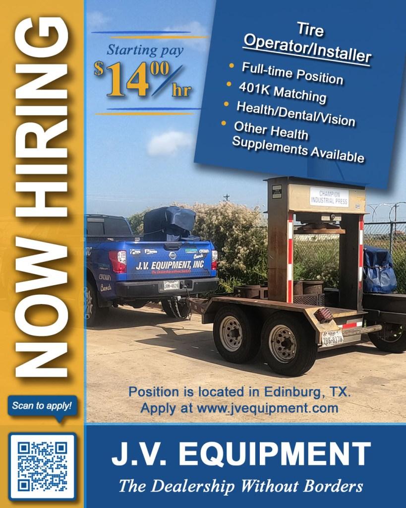 jv equipment, inc forklifts is hiring a forklift tire installer