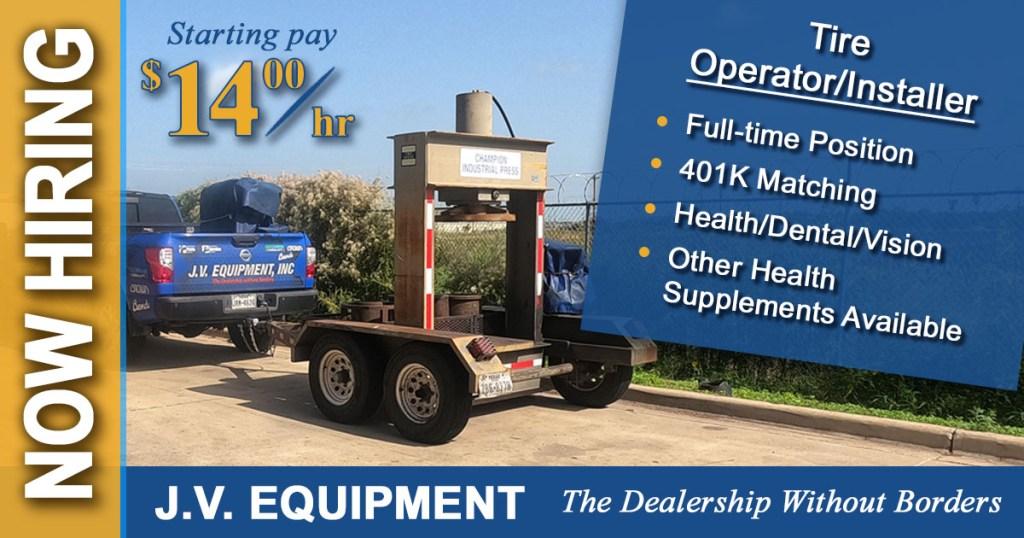 jv equipment edinburg tx forklifts is hiring a forklift tire installer